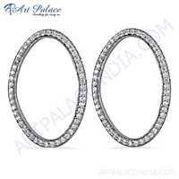 Trendy Cubic Zirconia Gemstone Silver Hoop Earrings