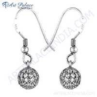Designer Cubic Zirconia Gemstone Silver Hanging Earrings