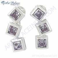 Lastest Luxury Amethyst Cubic Zirconia Gemstone Silver Earrings