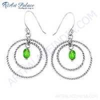 Spiral Design Green Glass Gemstone Silver Earrings