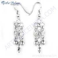 Fastival Cubic Zirconia & Pearl Gemstone Silver Earrings