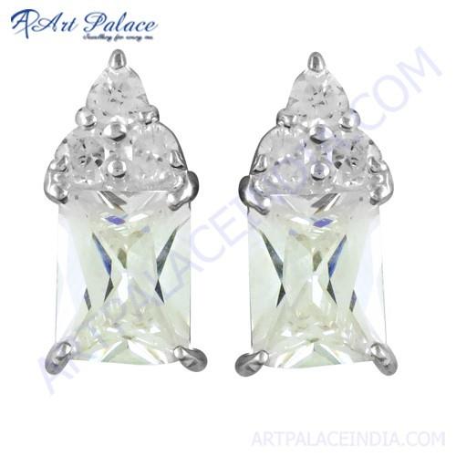 Sensational Cubic Zirconia Gemstone Silver Earrings