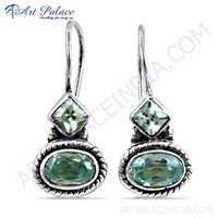 Hot Sale Blue Cubic Zirconia Gemstone Silver Earrings