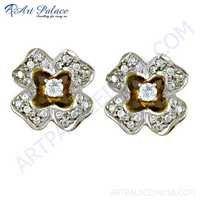 Graceful Cubic Zirconia Gemstone Silver Gold Plated Stud Earrings