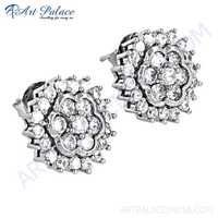 Wholesale Handmade Cz Gemstone Silver Stud Earrings