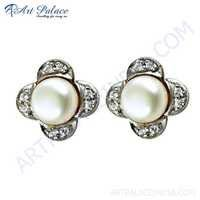 Glamours Cz & Pearl Gold Plated Silver Stud Earrings