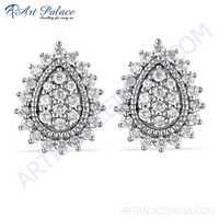 Precious Antique Cubic Zirconia Gemstone Silver Stud Earrings