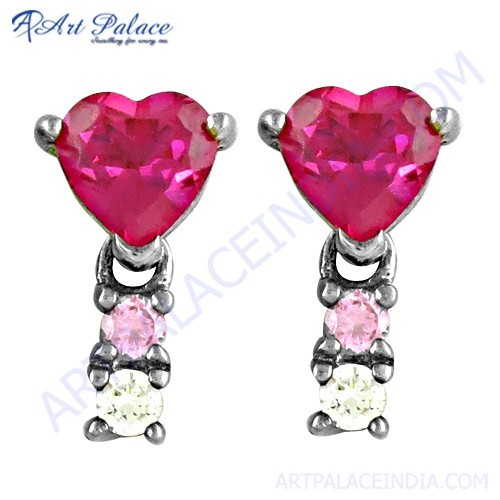 Romantic Pink, Red & White Cubic Zirconia Silver Earrings