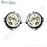 Cute Cubic Zirconia Stud Silver Earrings
