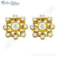Fantastic Fashionable Cz Gemstone Gold Plated Silver Earrings