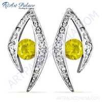 Fashion Accessories Cubic Zirconia & Yellow Cubic Zirconia Silver Earrings