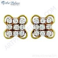 Wholesale Handmade Cz Gemstone Gold Plated Silver Earrings