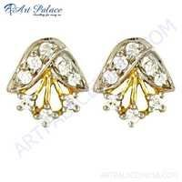 Antique Royal Style Cz Gold Plated Silver Earrings