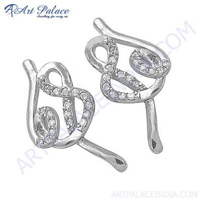 Fantastic Style Silver Earrings With Cubic Zirconia