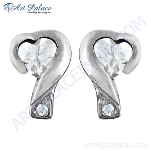 Rocking Cubic Zirconia Gemstone Silver Stud Earrings