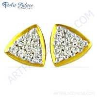 Best Selling Cubic Zirconia Gemstone Gold Plated Silver Earrings