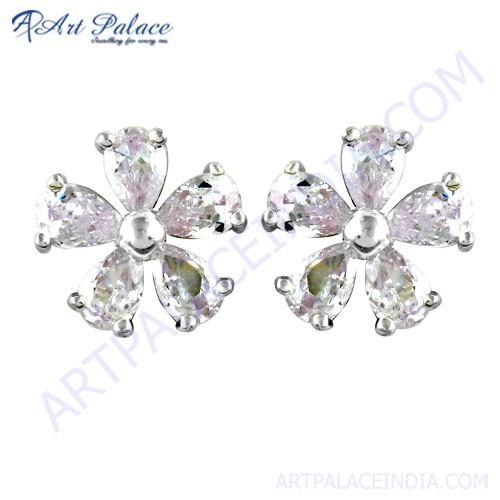 Cute Flower Style CZ Silver Earrings