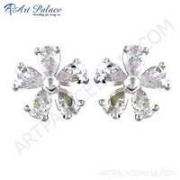 Cute Flower Style CZ Silver Earrings