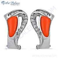 High Quality Coral & Cz Gemstone Silver Earrings