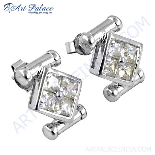 New Stylish Cubic Zirconia Gemstone Silver Earrings
