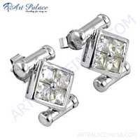 New Stylish Cubic Zirconia Gemstone Silver Earrings