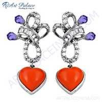 Attractive Heart Style Coral & Multi Color Cz Gemstone Silver Earrings