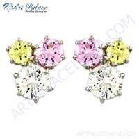 Charming Pink, Yellow & White Cubic Zirconia Silver Stud Earrings
