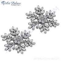 Exclusive Cubic Zirconia Gemstone Silve Stud Earrings