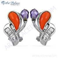 Hand Created Coral & Cz & Inkzirconia Gemstone Silver Earrings