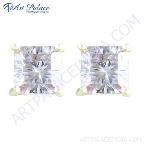Dazzling Cubic Zirconia Silver Stud Earrings