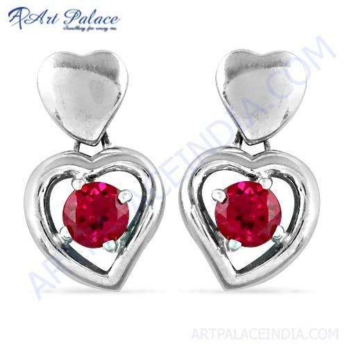 Hot Red CZ Silver Stud Earrings In Heart Style