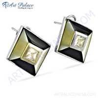 Pretty Inley & Cubic Zirconia Gemstone Silver Earrings