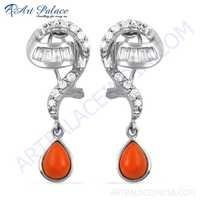 Girl's Fashionable Coral & Cubic Zirconia Gemstone Silver Earrings