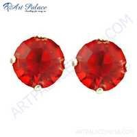 Red Rosey Gemstone Silver Earrings With Red CZ