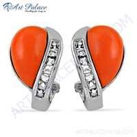 Excellent New Coral & Cubic Zirconia Gemstone Silver Earrings