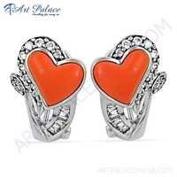 Unique Heart Style Coral & Cz Gemstone Silver Earrings