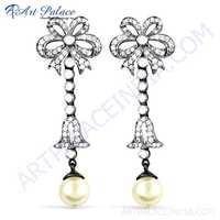 Hot Luxury Cubic Zirconia & Pearl Gemstone Silver Earrings