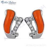 Best Selling Coral & Cubic Zirconia Gemstone Silver Earrings