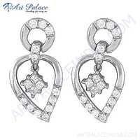 Indian Designer Cubic Zirconia Gemstone Silver Earrings