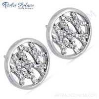 New Cubic Zirconia Gemstone Silver Earrings