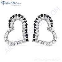 Cute Heart Style Black & White CZ Gemstone Silver Earrings