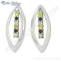 New Stylish Multi Color Cubic Zirconia Silver Earrings