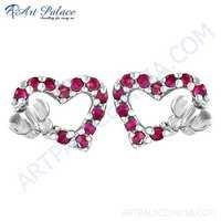 Sweet Heart Pink Cubic Zirconia Gemstone Silver Earrings