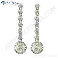 Handcrafted Cubic Zirconia Gemstone Silver Earrings