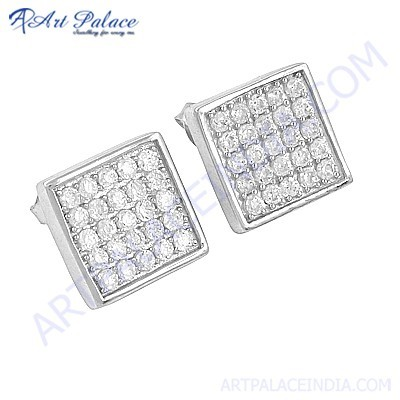 Cute Cubic Zirconia Gemstone Stud Silver Earrings