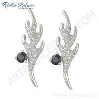 Gracious Fashionable Cubic Zirconia & Ink Zirconia Gemstone Silver Earrings