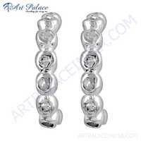 Latest Cubic Zirconia Gemstone Silver Earrings