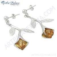 Attractive Pitch Zirconia Gemstoine Silver Earrings