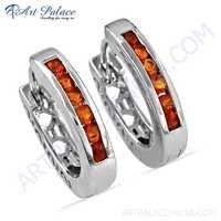 Royal Orange Cubic Zirconia Gemstone Silver Hoop Earrings