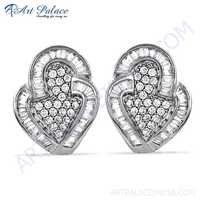 Inspired Cubic Zirconia Gemstone Silver Earrings